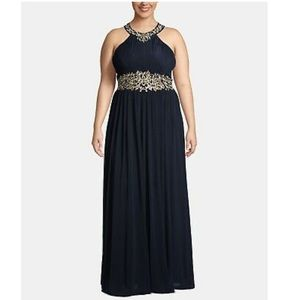Betsy & Adam Plus Size Embroidered Halter Gown
